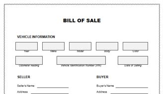 Bill Of Sale For Car Template