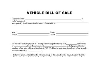 Get Free Bill Of Sale for Vehicle Template