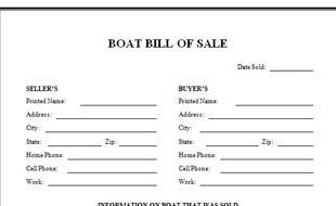 Boat Bill Of Sale Nc