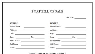 Boat Bill of Sale