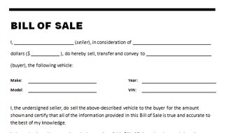 Simple Bill Of Sale >> Car Bill Of Sale Template