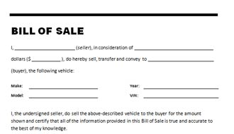 car bill of sale word template