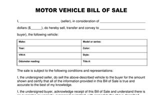 The Best Free Motor Vehicle Bill of Sale Template
