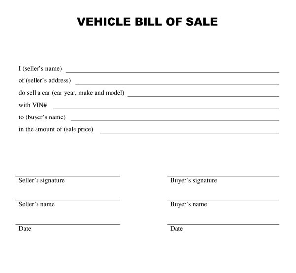 Free Vehicle Bill Of Sale