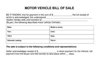 Motor Vehicle Bill Of Sale Template