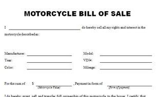 Motorcycle bill of sale template for Nh motor vehicle bill of sale template