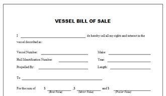 Vessel Bill of Sale