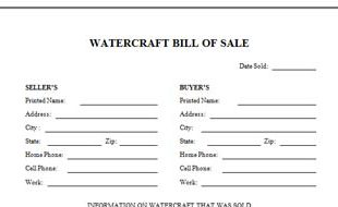Elegant Watercraft Bill Of Sale In Free Printable Bill Of Sale For Boat