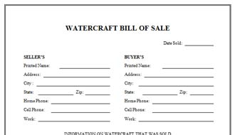 Watercraft Bill Of Sale