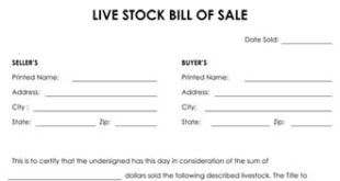 Livestock Bill Of Sale