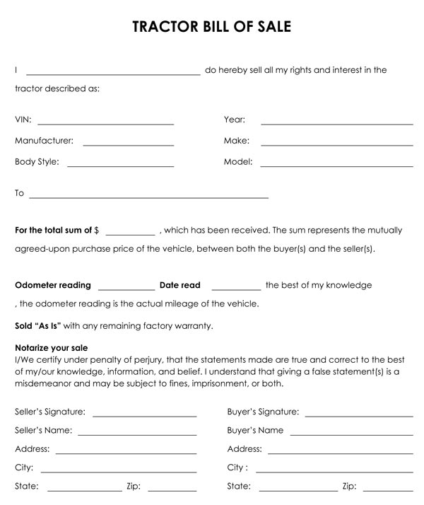 bill of sale wording template
