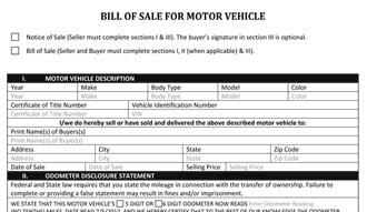 automotive bill of sale