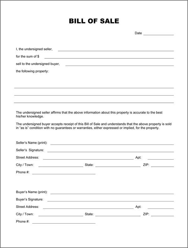 Blank Bill Of Sale Form  Download PdfDoc Formats