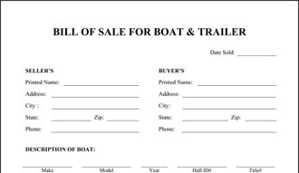 Boat And Trailer Bill Of Sale