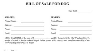 Dog Bill Of Sale