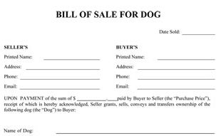 Dog Bill Of Sale