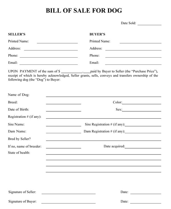 Dog Bill Of Sale – Template for a Bill of Sale
