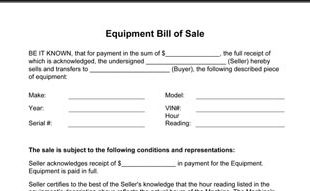 Equipment Bill Of Sale
