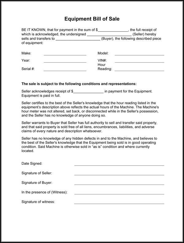 bill of sale equipment Equipment Bill Of Sale Form