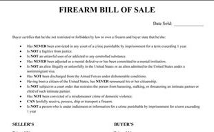 Firearm Bill Of Sale