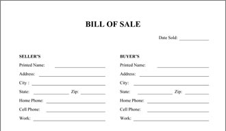 General Bill Of Sale