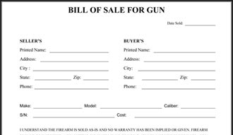 firearm bill of sale Gun Bill Of Sale