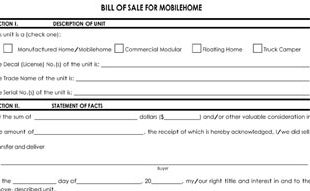 General Bill of Sale on certificate for mobile home, bill of sale for motor home, patent for mobile home, contract of sale for mobile home, title for mobile home,