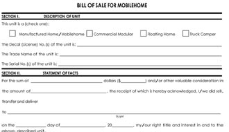 Mobile Home Bill Of Sale