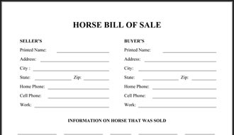 equine bill of sales