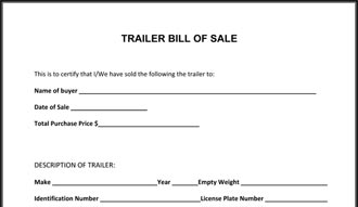 free bill of sale form for trailer